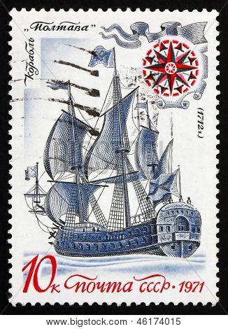 Postage Stamp Russia 1971 Battleship Poltava, 1712