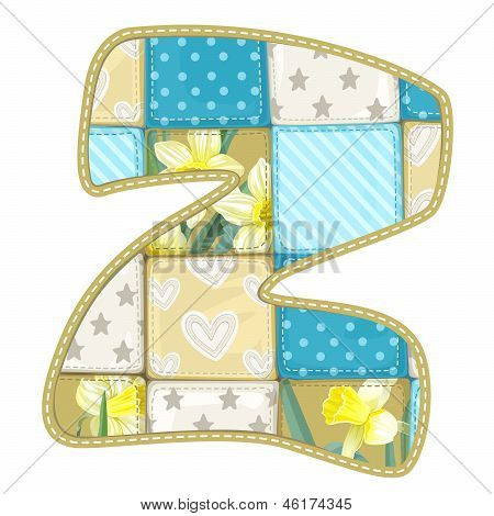 Roundish Font From Quilted From Multi-colored A Blanket Rag - Letter Z