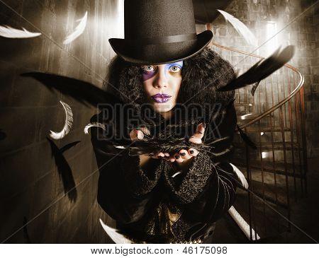 Dark Fashion Girl Making Magic And Mystery Wish