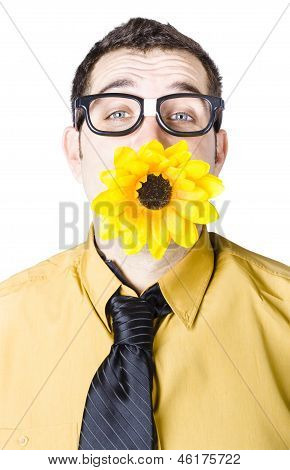 Man With Flower In Mouth