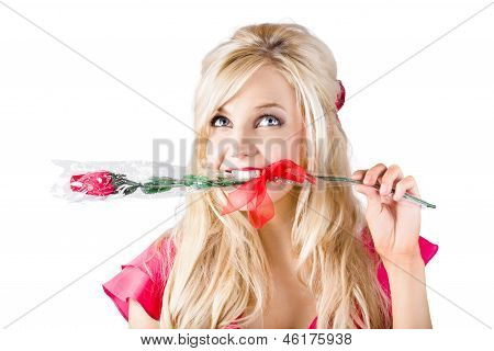 Woman With Rose Between Teeth