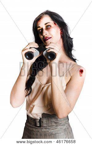 Zombie Woman With Binoculars