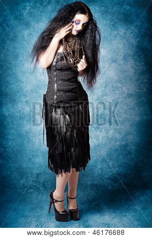 Gothic Female Fashion Model. Elegant Black Outfit