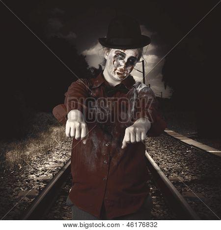 Zombie Walking Undead Down Train Tracks