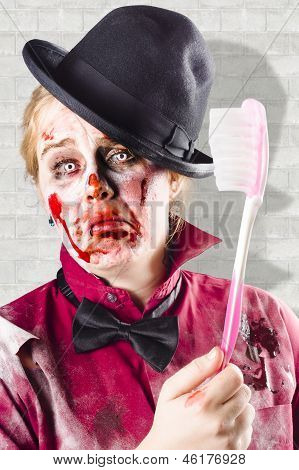 Zombie With Big Toothbrush. Fear Of The Dentist