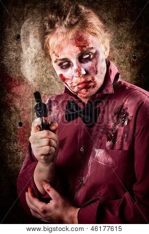 Evil Demented Zombie Holding Hand Gun. Robbery