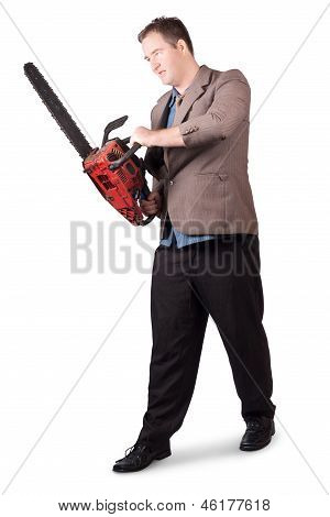 Sales Man Holding Chainsaw. Slashing Sale Prices