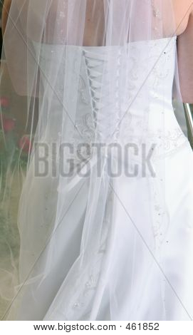Details Of The Back Of The Bridal Dress