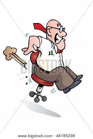 Businessman Falls On Red Chair