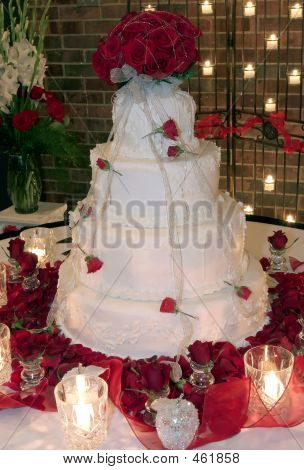 Wedding Cake, Rose Petals And Candles