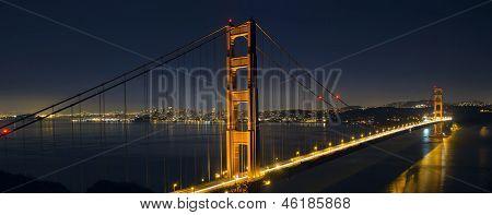 Light Trails On San Francisco Golden Gate Bridge