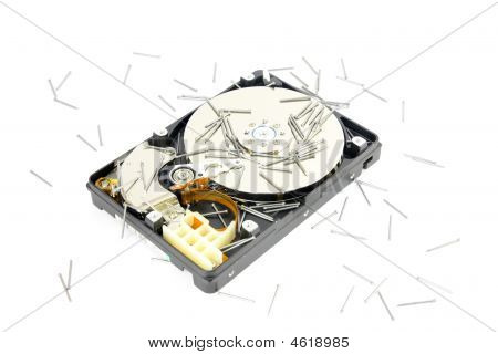 Festplatte mit Nagel