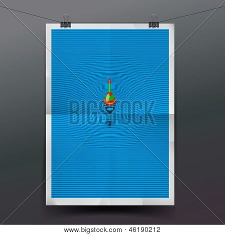 Paper banner with float, fishing line underwater