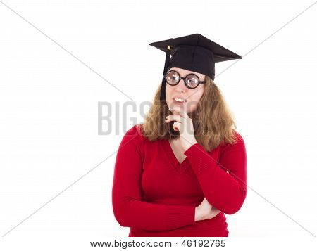 Female Graduate Thinking About Her Studies