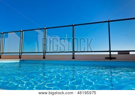 Outdoor Swimming Pool At The House Roof