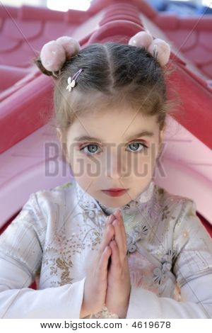 Beautiful Caucasian Little Girl With Asian Dress
