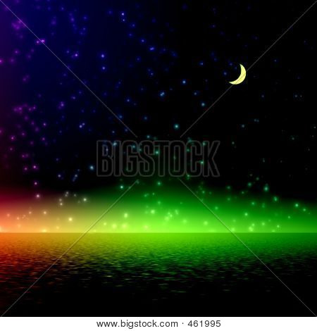 De la noche. Luz del arco iris místico