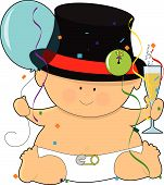 stock photo of new years baby  - A baby dressed in a diaper and top hat - JPG