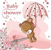 stock photo of teddy  - Baby shower card  - JPG