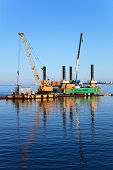 stock photo of pontoon boat  - Construction site on water - JPG