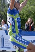 KIEV, UKRAINE - MAY 24: Denis Kostyuk, Kolss cycling team, Ukraine, win the bicycle racing Race Hori