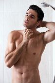 pic of chest hair  - young sexy man washing in the shower - JPG