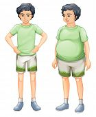 stock photo of skinny fat  - Illustration of the two boys with same shirt but of different body sizes on a white background - JPG