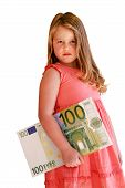 image of nyse  - Little Child holding 100 Euro in the hands - JPG