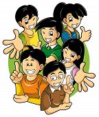 pic of cartoon people  - Cartoon illustration of smart cheerful and supportive children - JPG