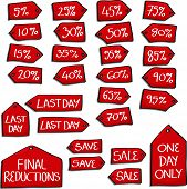 Set of Cartoon style Sale Tags