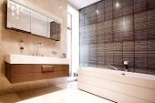 Bathroom With Mirror And  Tub