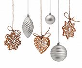 image of ginger-bread  - Christmas gingerbreads and glass decoration hanging isolated - JPG