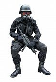 stock photo of mp5  - Special force soldier wearing gask mask sitting in isolation background - JPG