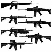 foto of assault-rifle  - Layered vector illutration of collected American Carbines - JPG