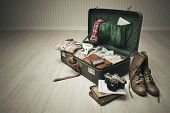 picture of old suitcase  - Vintage suitcase open on a wood floor in an empty room - JPG
