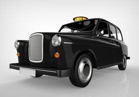 stock photo of hackney  - Black London Taxi isolated on white background - JPG