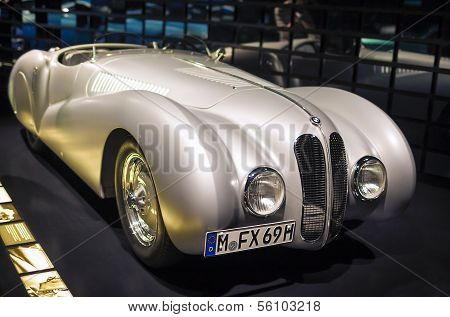MUNICH, GERMANY - JUNE 17, 2012: Bmw 328 Race Car On Stand In Bmw Museum in June 17th , 2012 in Muni