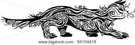 Illustration - Decorative cat ornamen black colour