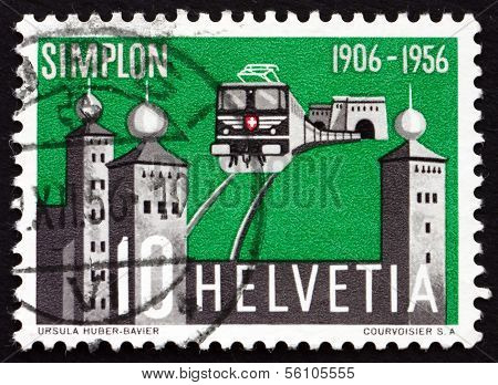 Postage Stamp Switzerland 1956 North Gate Of Simplon Tunnel