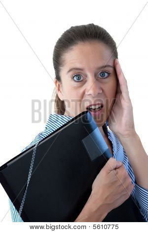 Middle Aged Business Woman Looking Shocked With File