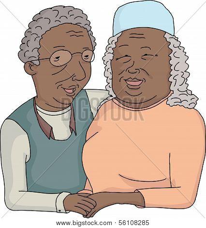 lächelnd älteres Ehepaar cartoon