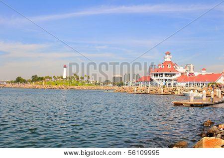 LONG BEACH, CA - September 21, 2012:  Shoreline Village and Lighthouse, Long Beach Harbor, Long Beach, California.