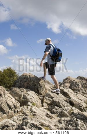 Man Finishing Hike