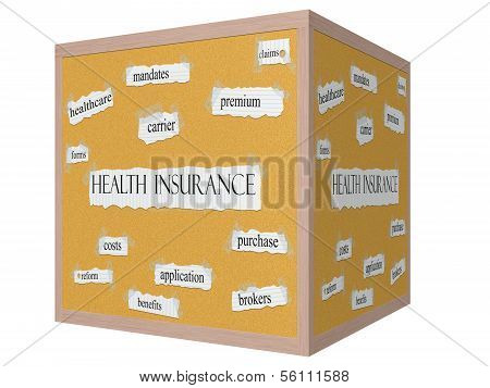 Health Insurance On A 3D Cube Corkboard Word Concept