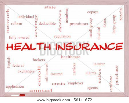 Health Insurance Word Cloud Concept On A Whiteboard