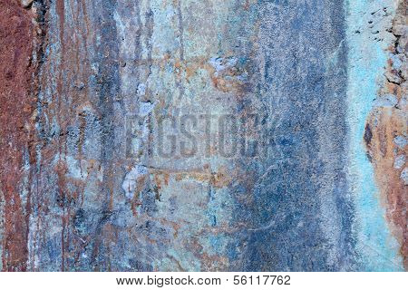 Decaying Blue And Red Wall