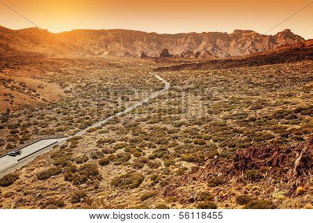 Desertic Road In Orotava Valley, Tenerife