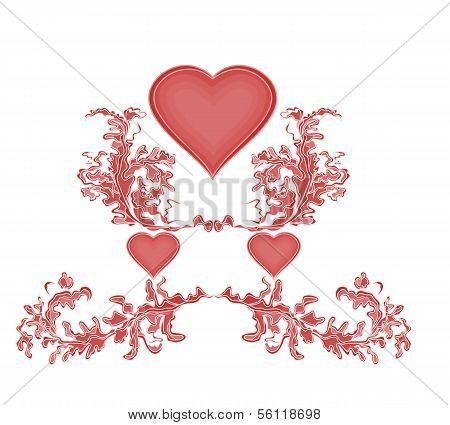 A Valentine Hearts And Ornaments
