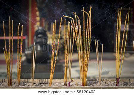 Incense Sticks Burning At A Taoist Temple Of Wong Tai Sin, Hong Kong.