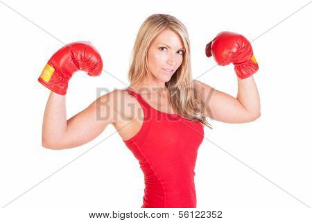 A beautiful young woman ready for a kickboxing exercise